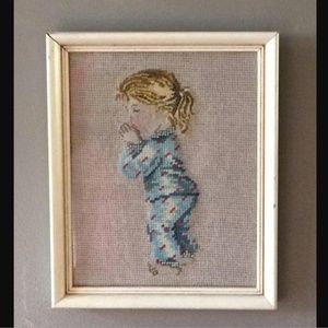 Other - Vintage 1980s Framed Needlepoint Wall Hanging